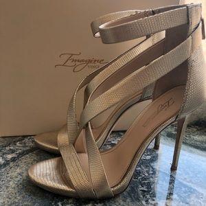 Vince Camuto Strappy Sandal Stiletto Heel Gold